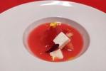 Blody Mery de sandía, sandia osmotizada con soja, queso y tomate
